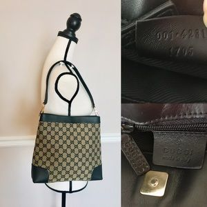 Authentic Gucci hobo bag grey & black canvas